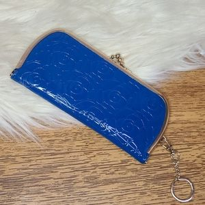 Blue floral wallet clutch